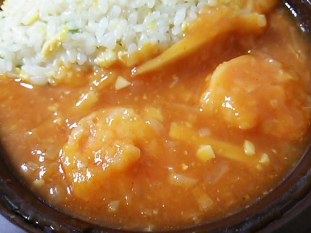 麻婆海老チリ炒飯の海老チリアップ