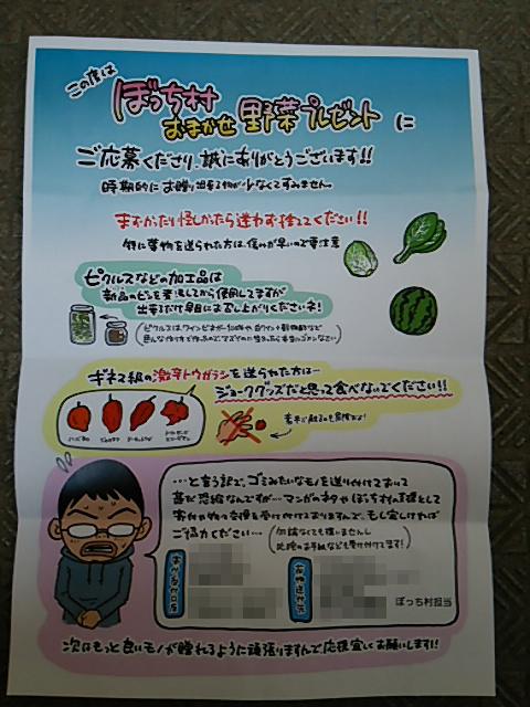 ぼっち村野菜手紙