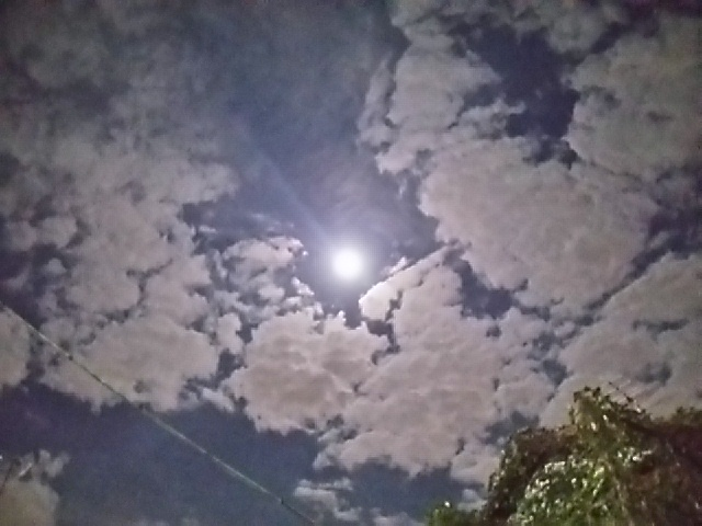 皆既月食20141008前夜の明るい月