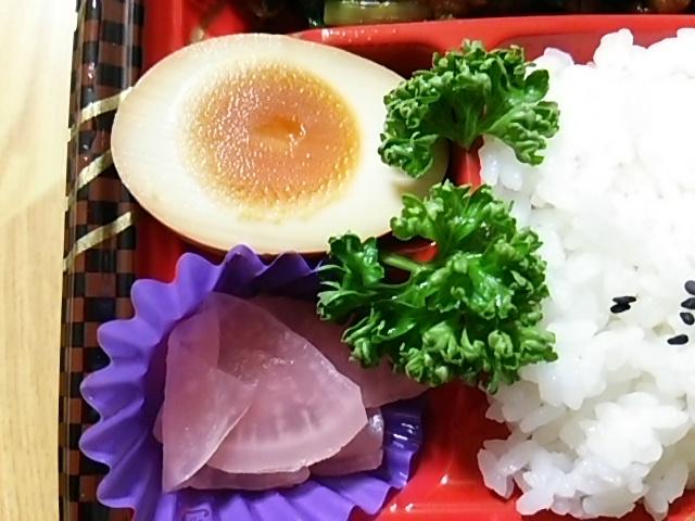 国産豚レバニラ点心弁当の味玉