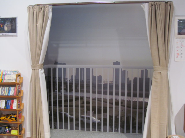安部家のリビングルームの窓からの眺め