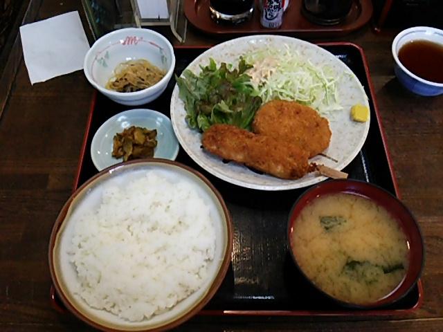 舟よし豚串かつと牛肉コロッケセット定食