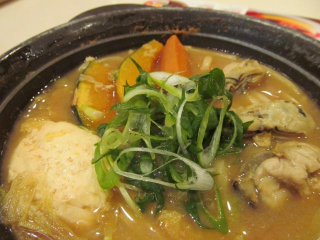 牡蠣味噌ちゃんこ鍋のねぎ