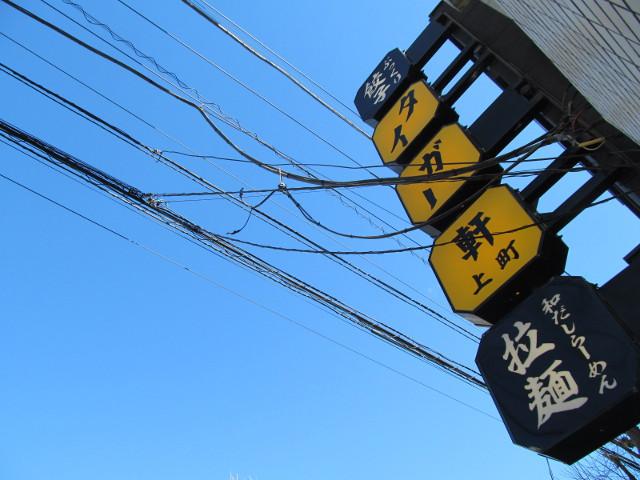 タイガー軒世田谷上町店看板と快晴の青空
