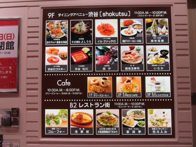 東急プラザ渋谷1Fエスカレーター横の飲食店案内