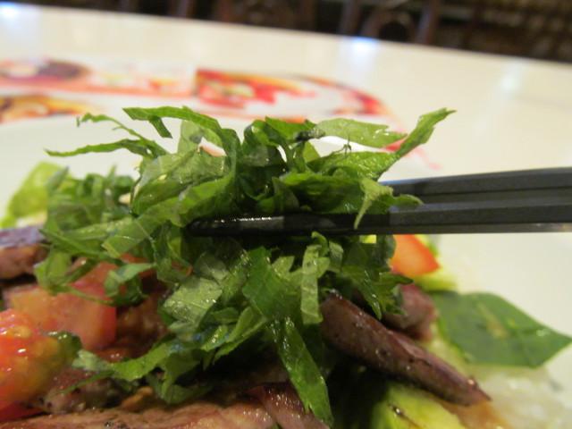 ガストステーキとアボカドのサラダごはん青紫蘇アップ