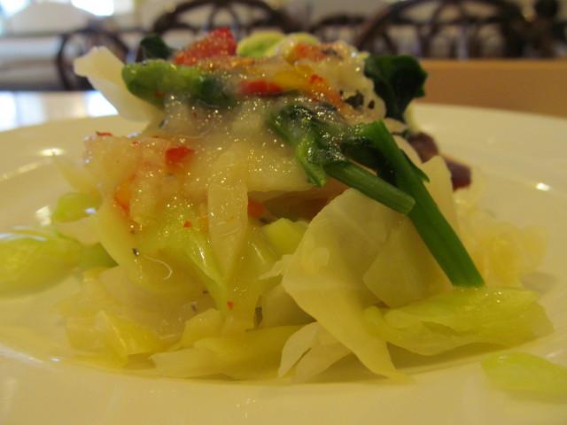 キャベツ菜の花の冷たいサラダ