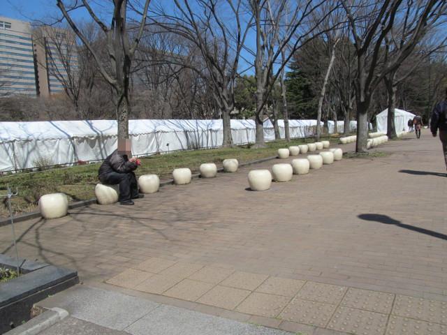 芝生広場横のイスたち
