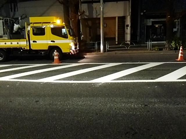 補助154号線世田谷通り右折レーン描く工事3