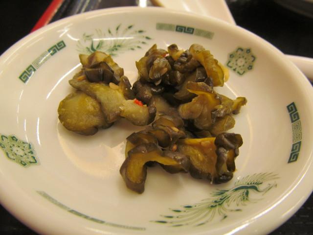 日高屋イワシフライ餃子セットのきゅうりの漬物