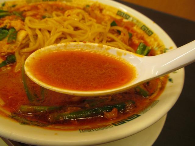 日高屋チゲ味噌ラーメンのスープ