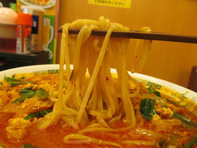 日高屋チゲ味噌ラーメンの麺