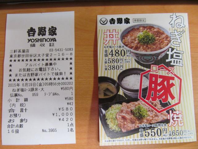 吉野家ねぎ塩ロース豚丼レシートと割引券