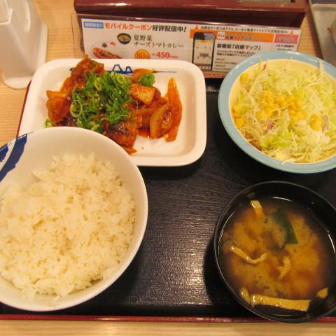 松屋鶏の甘辛味噌炒め定食サムネイル