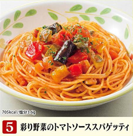 サイゼリヤ彩り野菜のトマトソーススパゲッティ