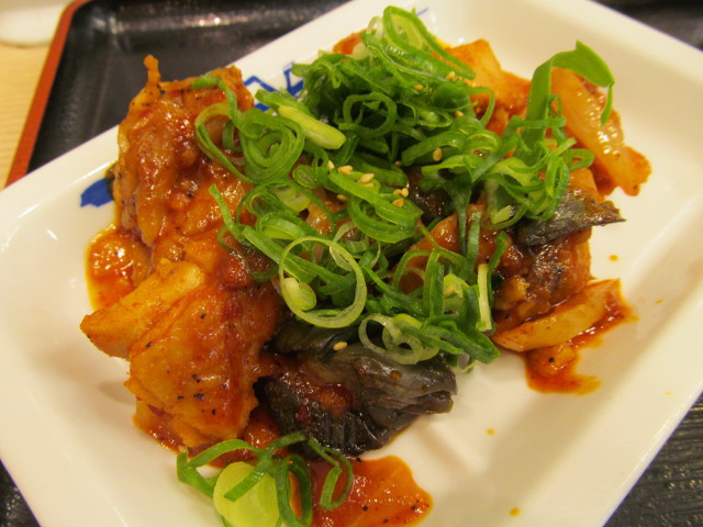 松屋鶏の甘辛味噌炒め定食の鶏