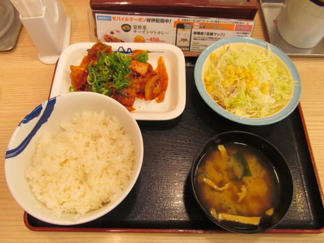 松屋鶏の甘辛味噌炒め定食