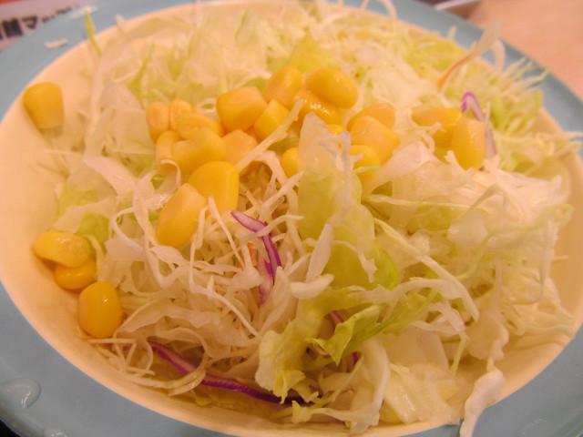 松屋鶏の甘辛味噌炒め定食の生野菜