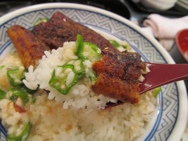 吉野家麦とろ鰻皿御膳ご飯大盛全部載せをスプーンで持ち上げる