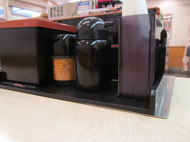 吉野家テーブルの上の醤油とか