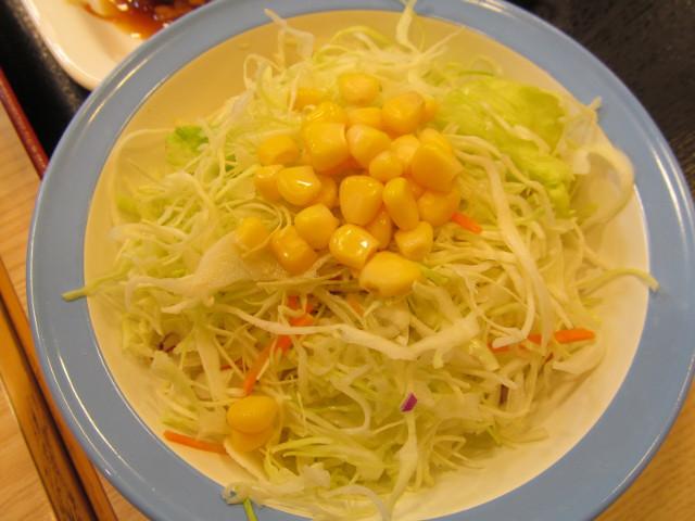 松屋ガーリックチキン定食ライス大盛の生野菜