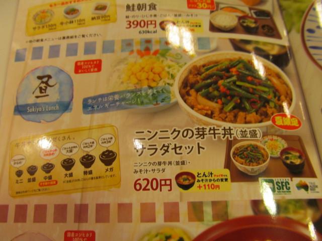 すき家ニンニクの芽牛丼サラダセットのメニュー20150729