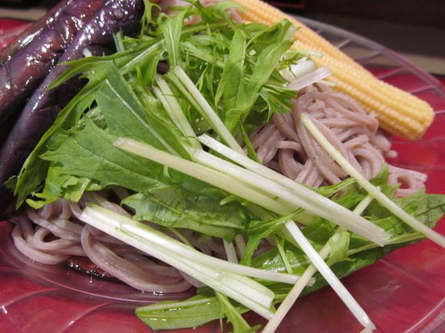 富士そば冷し夏野菜カレーつけ蕎麦の水菜