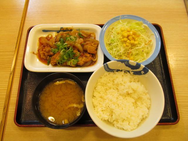 松屋ガーリックチキン定食ライス大盛