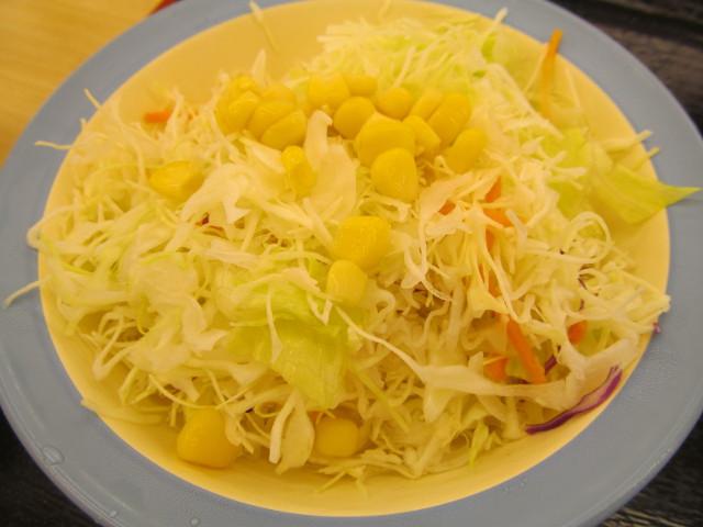 松屋豚キムチ定食ライス大盛の生野菜