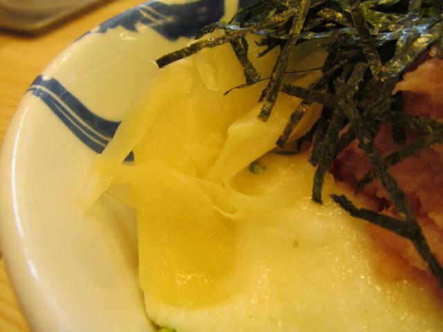 松屋山かけネギトロ丼大盛のガリ