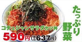 かつやコチュジャンサラダカツ丼画像