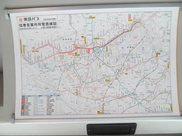 東急バス車内の弦巻営業所所管路線図