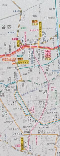 車内路線図から東急バス等11路線図