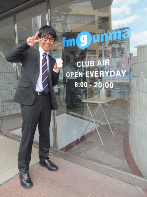 FMぐんまCLUBAIR入口の飯野平太さん20150827