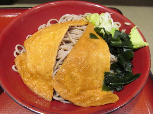 ミニ豚バラキムチ丼セット冷しきつねそば大盛のそば