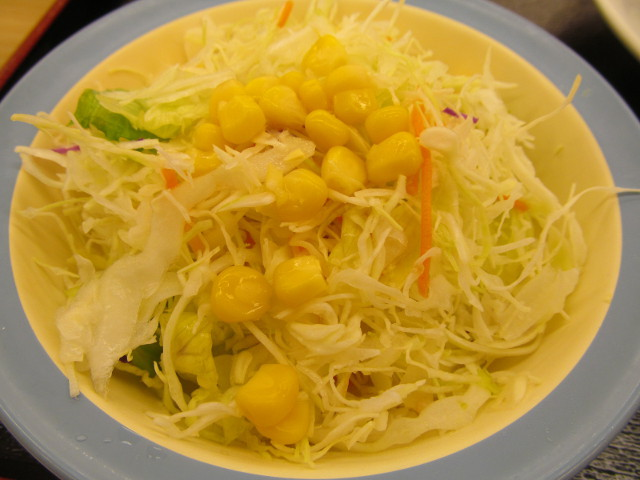松屋四川風旨辛麻婆豆腐定食の生野菜