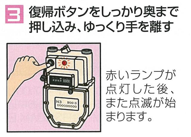 ガス復帰操作手順3