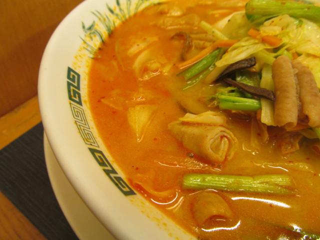 日高屋モツ野菜ラーメンのスープ