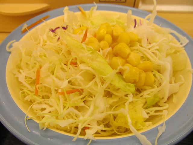 松屋トマトバジルハンバーグ定食の生野菜