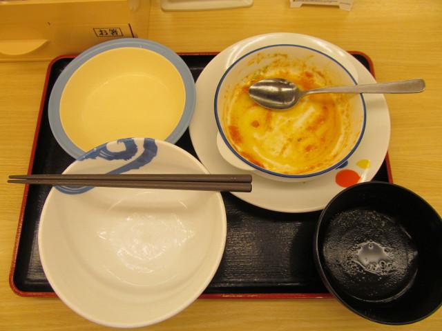 松屋トマトバジルハンバーグ定食ライス大盛を完食完飲