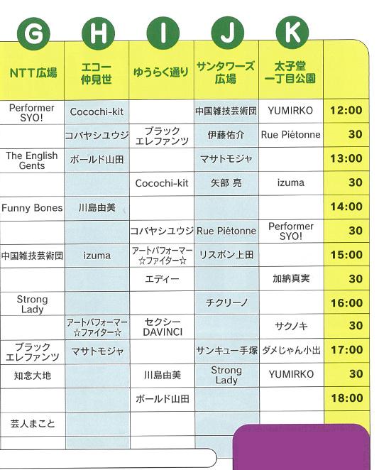 三茶de大道芸20151018タイムテーブル右側