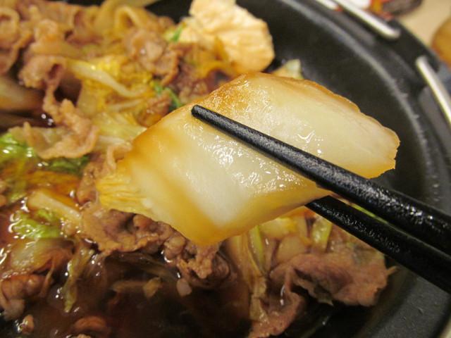 吉野家牛すき鍋膳の大きい白菜