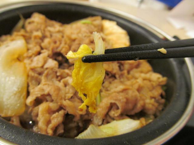吉野家牛すき鍋膳の白菜
