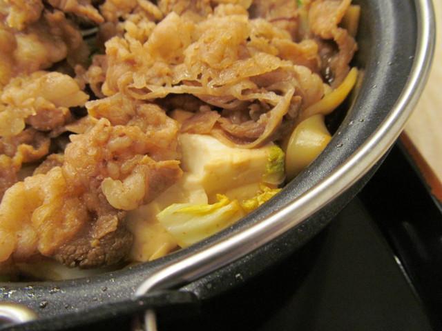吉野家牛すき鍋膳の豆腐白菜麺
