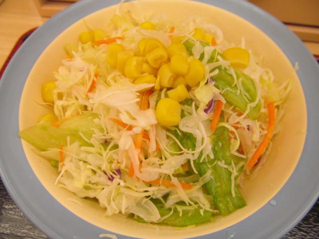 松屋豚と茄子の辛味噌炒め定食の生野菜