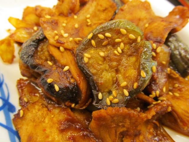 松屋豚と茄子の辛味噌炒め定食の茄子
