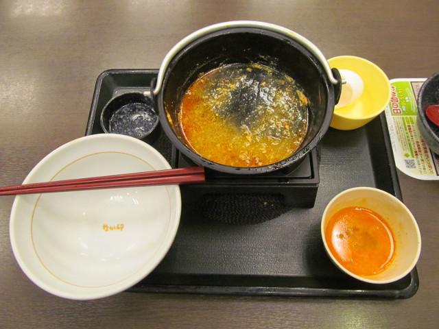 なか卯鶏担々鍋膳のスープを完飲