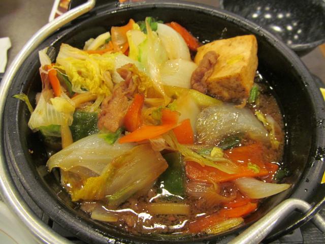なか卯牛すき焼き鍋膳の残った野菜たち
