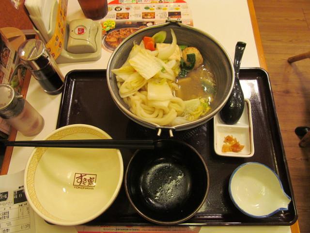 すき家鶏つくね鍋定食の大盛ごはんを完食