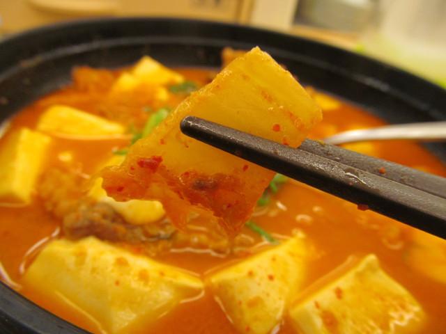 松屋豆腐キムチチゲ膳のキムチ持ち上げ